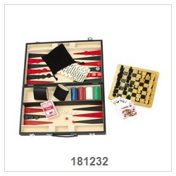 Deluxe 6 In 1 Game Set In Leather Box